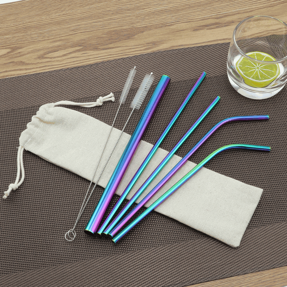 Get Customized logo print Stainless Steel Straws metal Starts from 100pcs for Running race, company event, career fair, trade show, exhibition and conference.