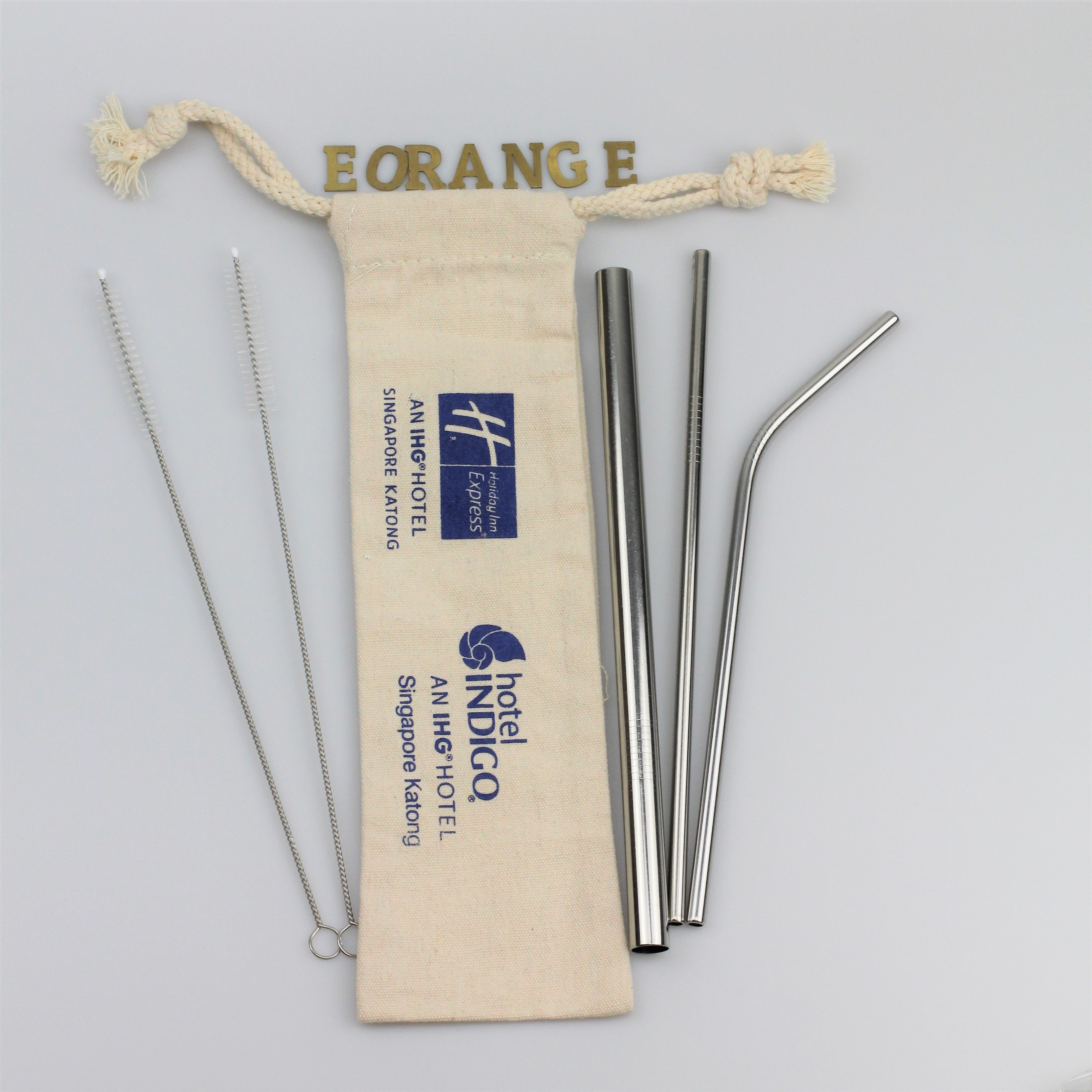 Reusable Stainless Steel Metal Straw Set Customised logo laser printing on the straw canvas pouch Environmentally friendly