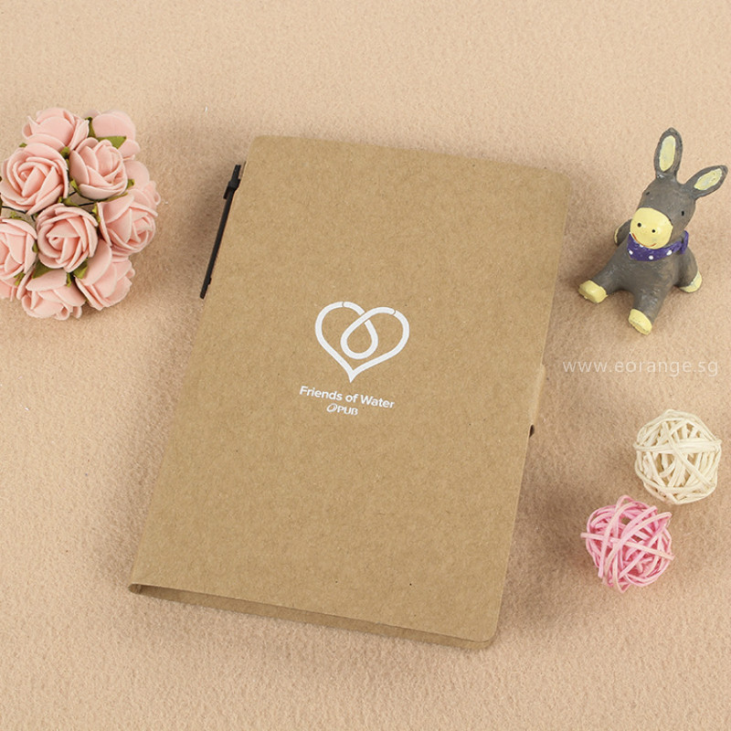 Eco-Friendly Desk Essentials customised printing Notebooks with Sticky Memo-pad and Pen