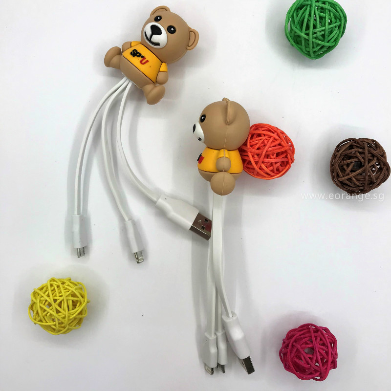 3D Customised 3 in 1 Charging Cable promotional gift event student